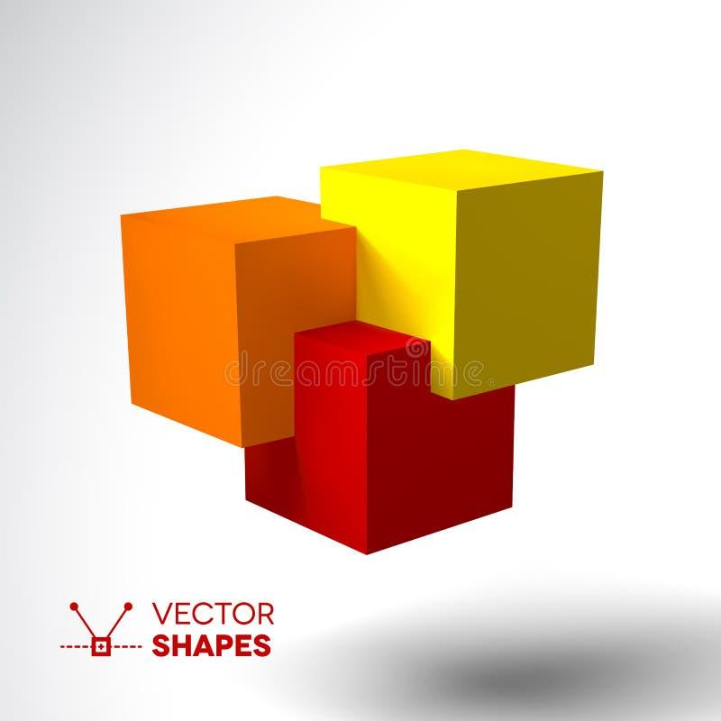 3D与明亮的色的立方体的商标 向量例证