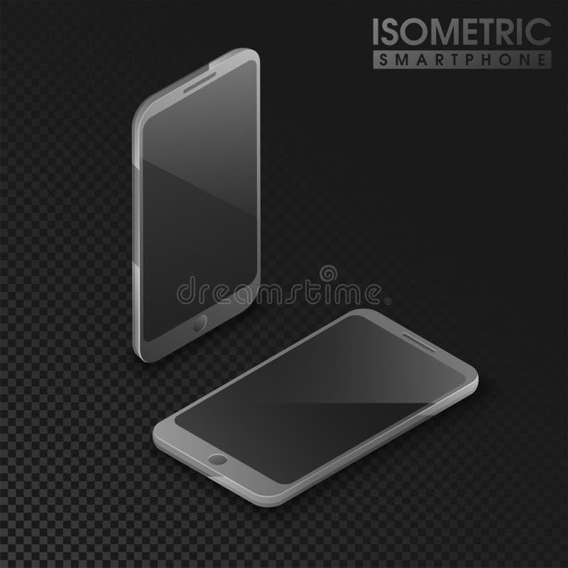 3d与智能手机的例证的等量设计在灰色tra的 皇族释放例证