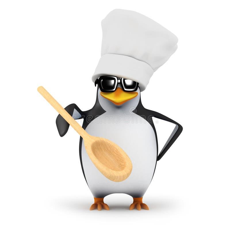 3d与木匙子的厨师企鹅 库存例证