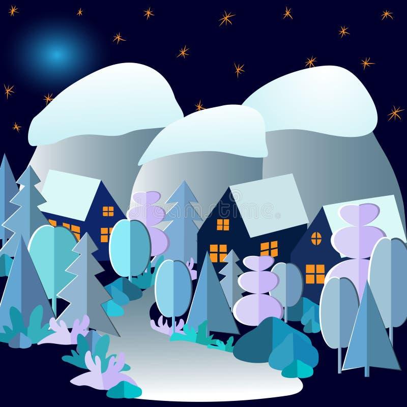3D与村庄、山、月亮和满天星斗的天空的抽象冬天夜森林风景 在动画片样式的传染媒介图画 库存例证