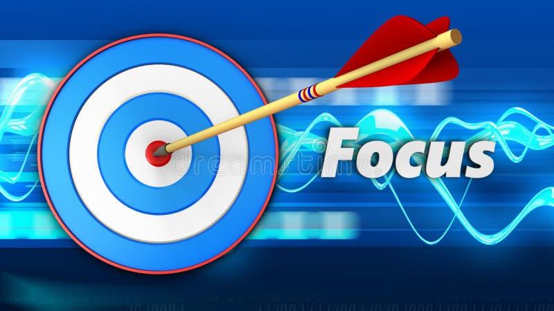 3d与焦点标志的蓝色目标 向量例证