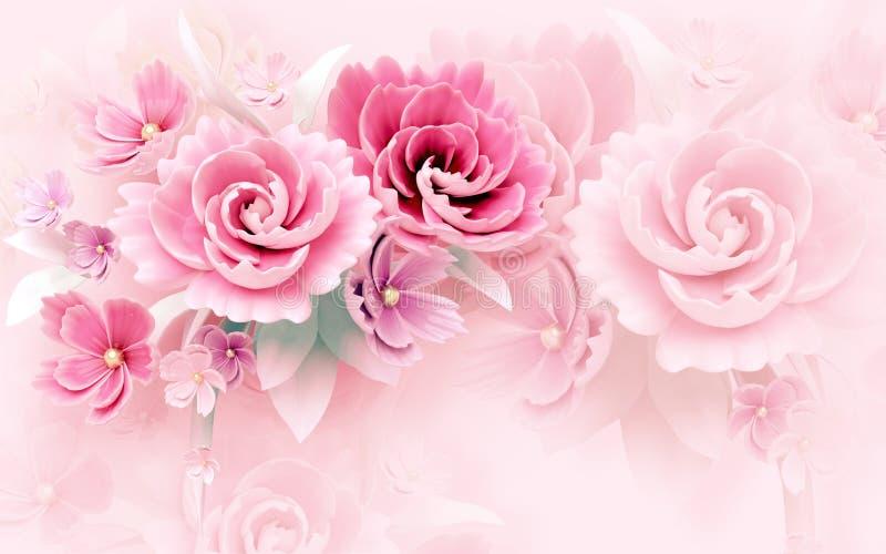 3d与玫瑰色和白色的墙壁上的墙纸摘要背景和花 库存图片