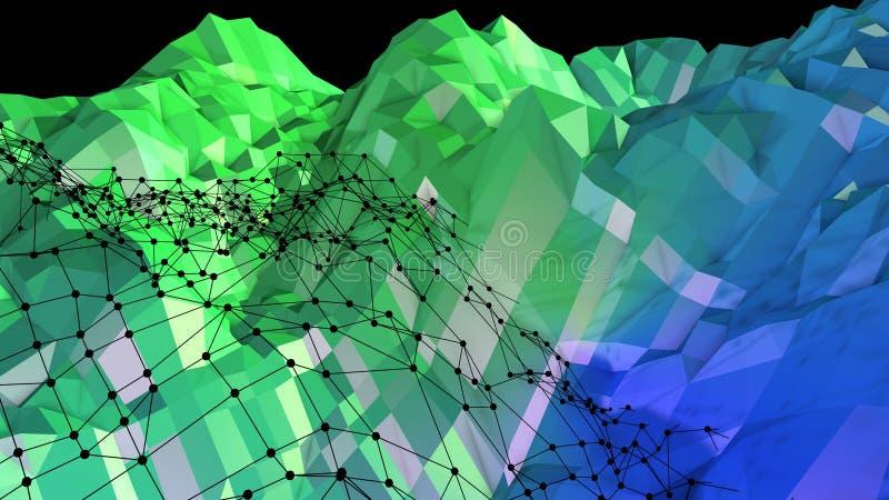 3d与现代梯度颜色的低多抽象几何背景 3d与栅格的表面蓝绿色梯度颜色 向量例证
