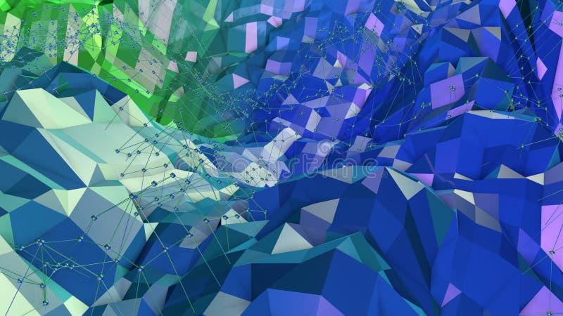 3d与现代梯度颜色的低多抽象几何背景 3d表面蓝绿色梯度颜色10 皇族释放例证