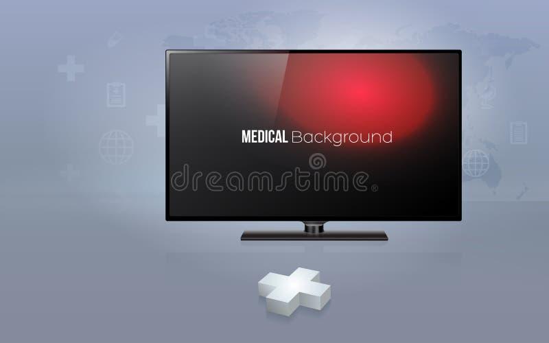3D与现代平面屏幕电视的加号与医疗保健 库存例证