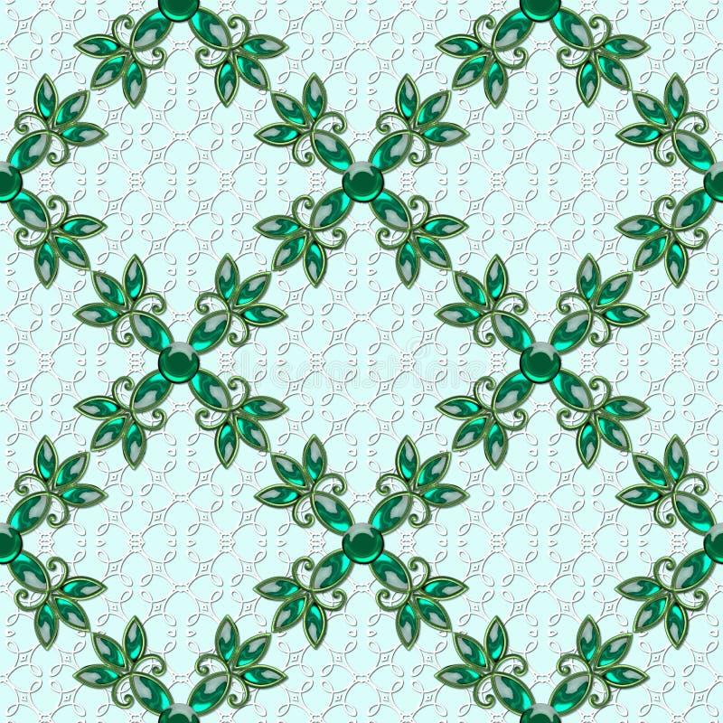 3D与玻璃花的规则纹理 在绿色背景的绿色首饰 backarrow 向量例证