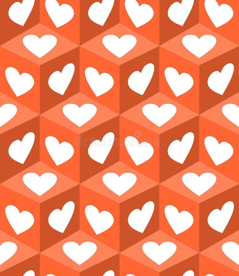 3d与白色心脏的立方体样式在橙色背景塑造 礼物纸打印的情人节主题 向量例证