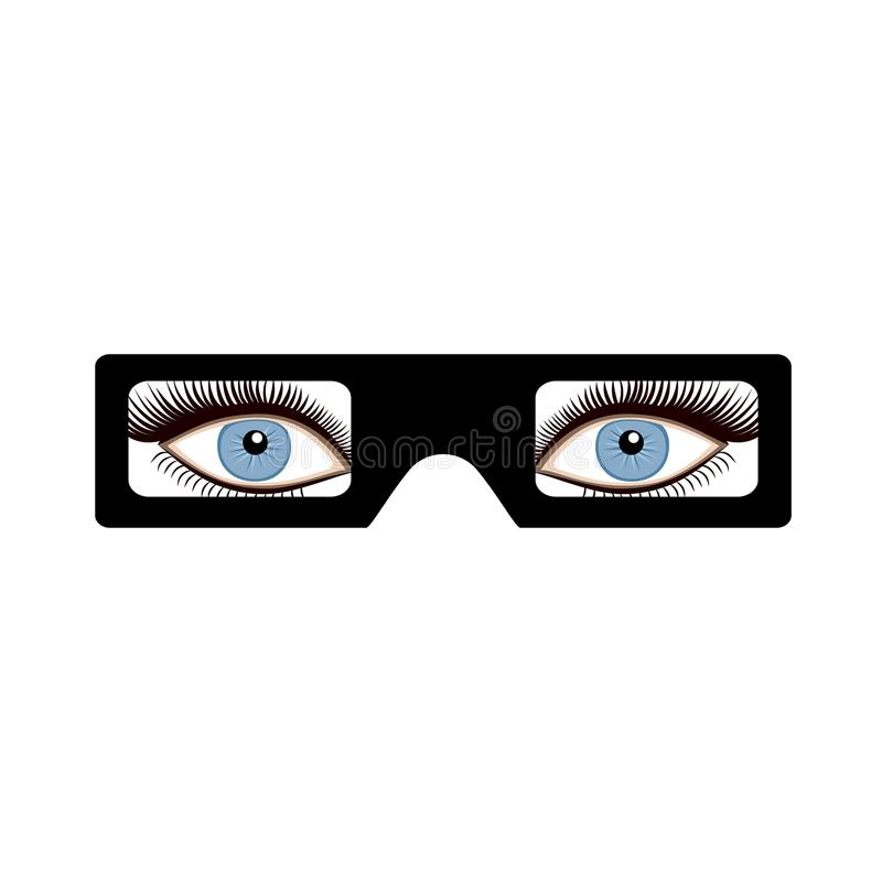 3D与眼睛的玻璃 库存例证