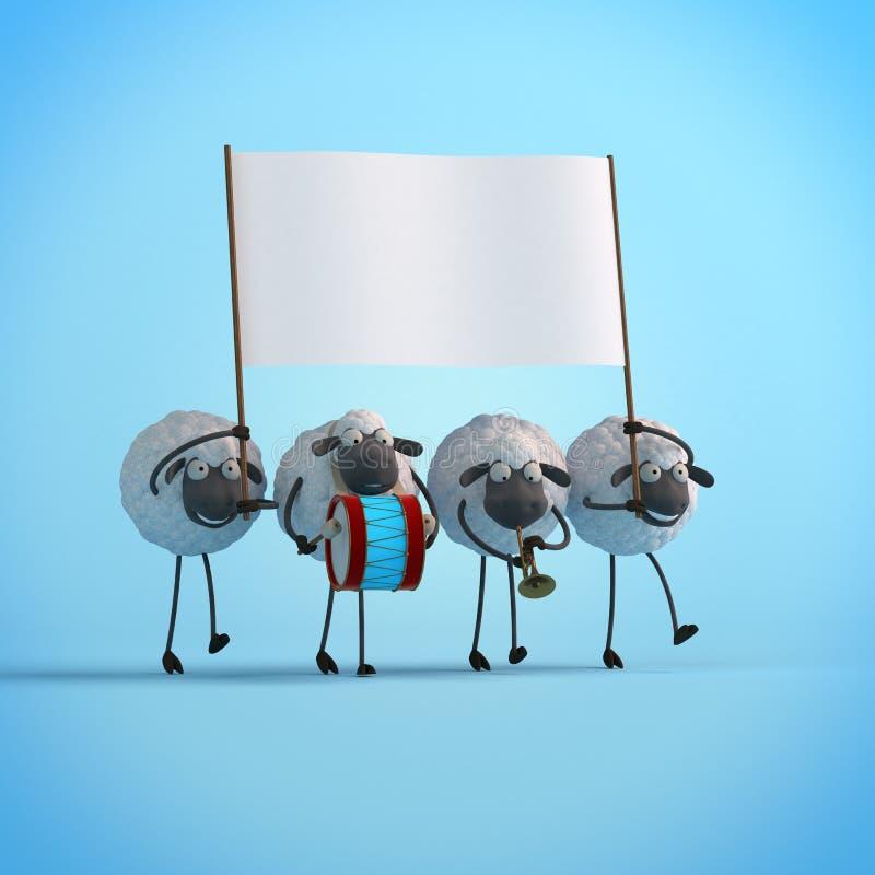 3d与空的横幅的例证四走的逗人喜爱的动画片绵羊在蓝色背景 皇族释放例证