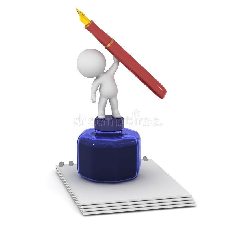 3D与笔记薄、墨水罐和钢笔的字符 皇族释放例证