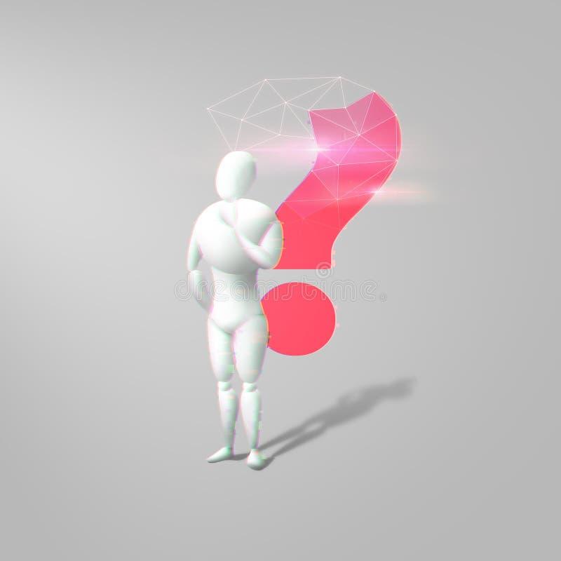 3d与红色的白色人的图象弄脏了问号 库存例证