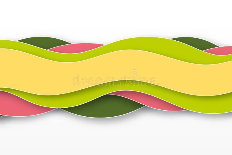 3D与纸裁减形状的摘要背景 皇族释放例证