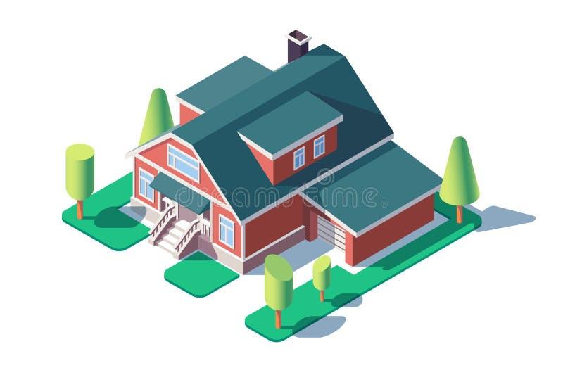 3d与绿色树、草坪和车库的等量大居民住房 库存例证