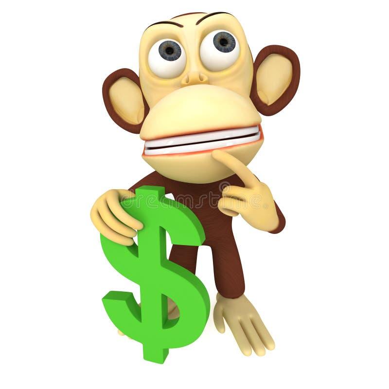 3d与美元的符号的猴子 皇族释放例证