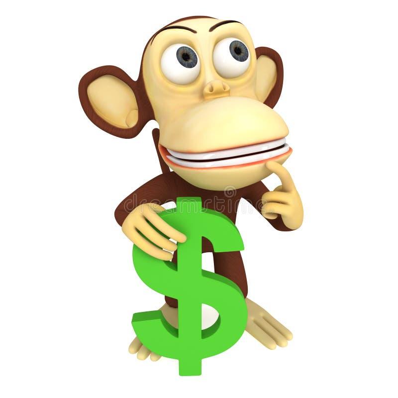 3d与美元的符号的猴子 向量例证