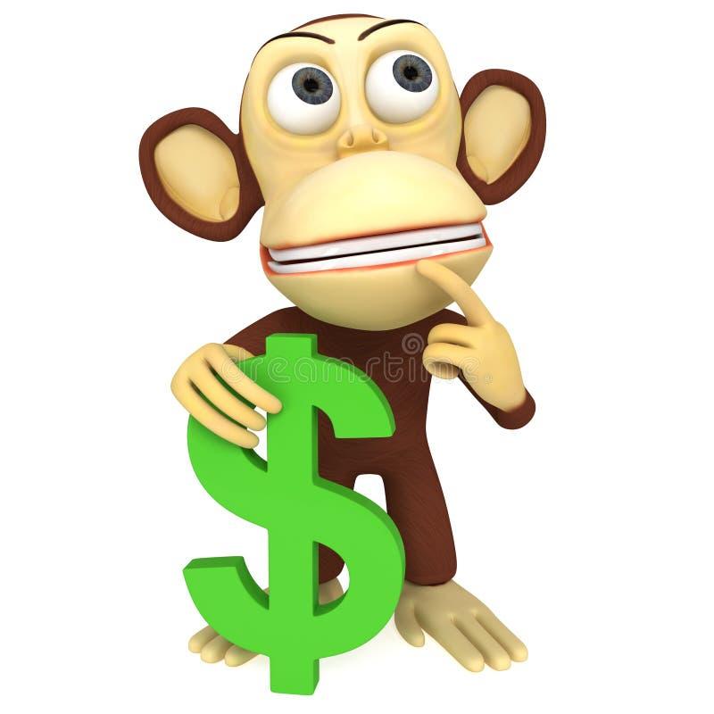 3d与美元的滑稽的猴子 库存例证