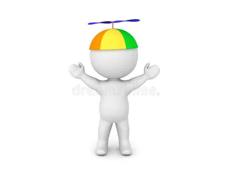3D与胳膊的字符培养了佩带的五颜六色的推进器童帽 库存例证