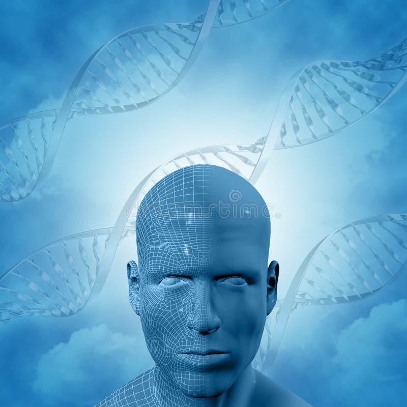 3D与脱氧核糖核酸子线和男性面孔的医疗背景 库存例证