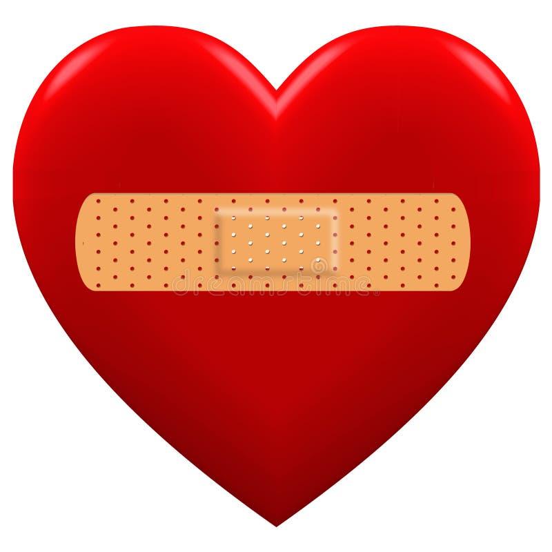 3D与膏药的红心 向量例证
