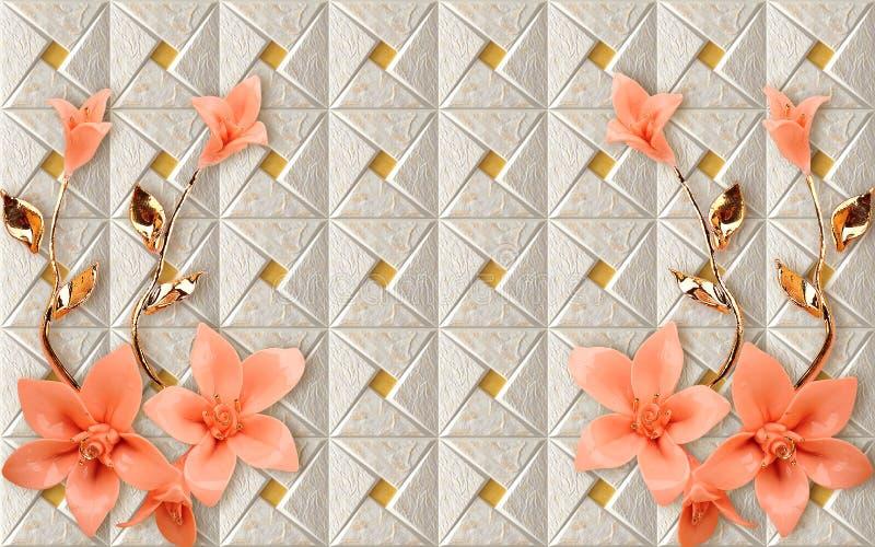 3D与花卉和几何金黄分支中国大理石墙纸花的墙纸墙壁上的设计上升了花 图库摄影