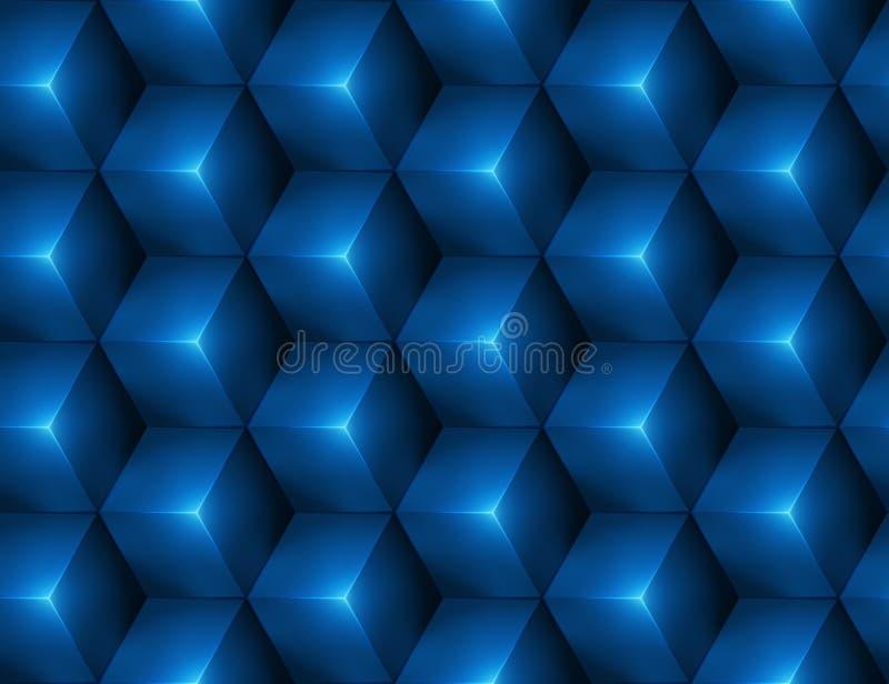 3d与蓝色立方体的抽象无缝的背景 皇族释放例证