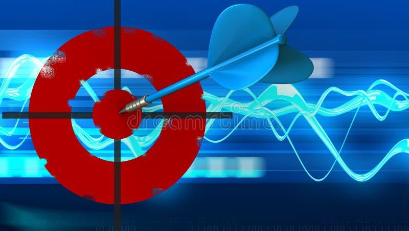 3d与蓝色箭的被绘的目标 库存例证