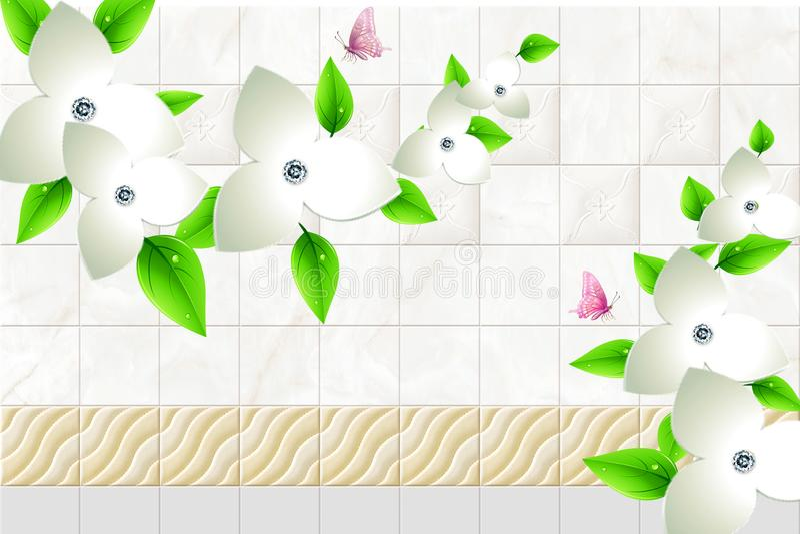 3d与蝴蝶和墙壁砖和白花绿色分支的墙纸摘要方形的大理石波浪背景 库存例证