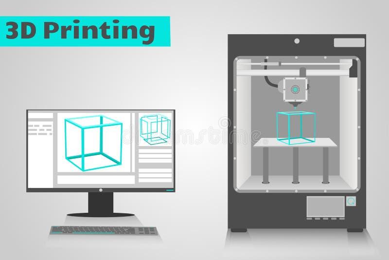 3D与计算机的打印 库存例证