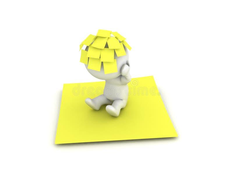 3D与许多黄色柱子稠粘的笔记的字符关于他的头s 库存例证