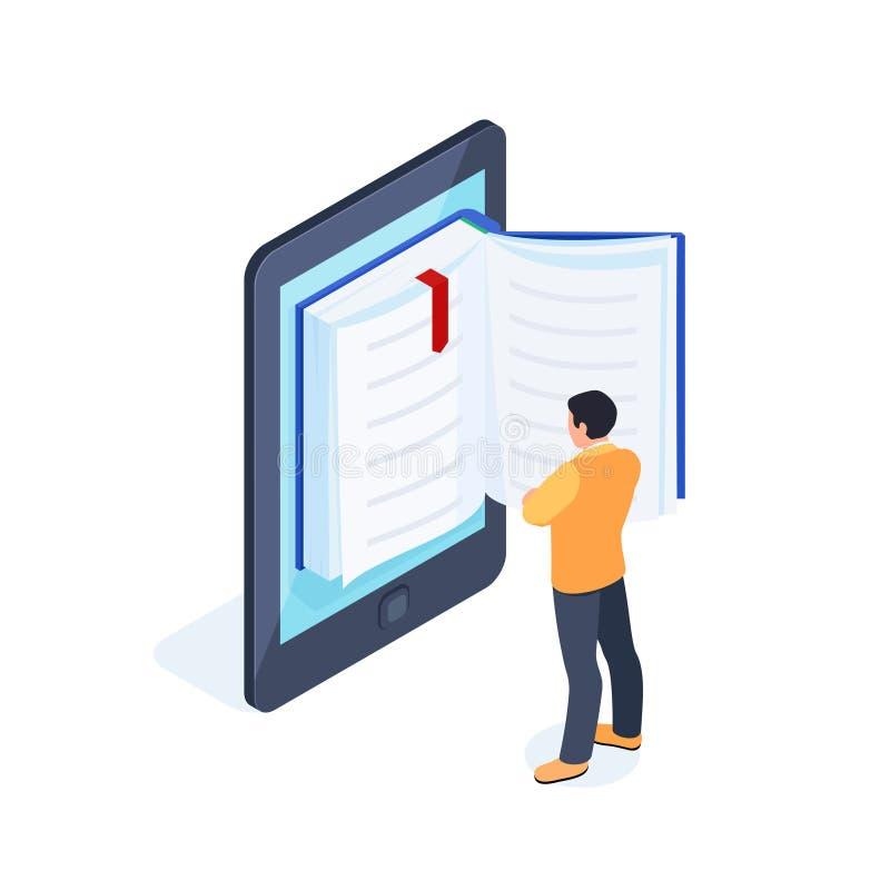 3d与读书人的e书概念 库存例证