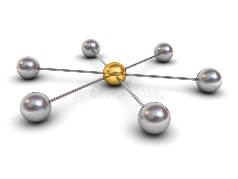 3d与金球形的网络结构概念在中心 皇族释放例证