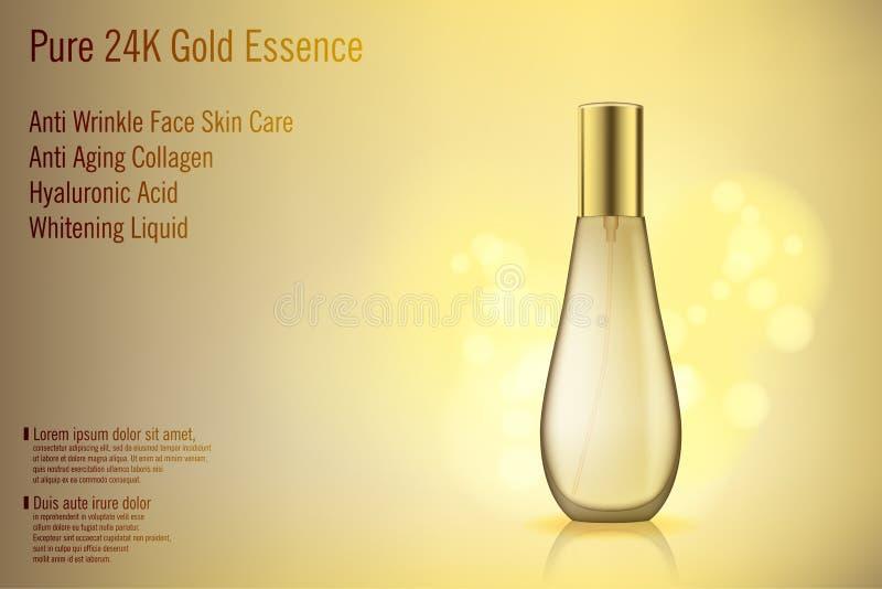 3D与金黄bokeh的现实金香水瓶大模型 玻璃化妆用品包含了商品广告 装饰性的妇女 向量例证