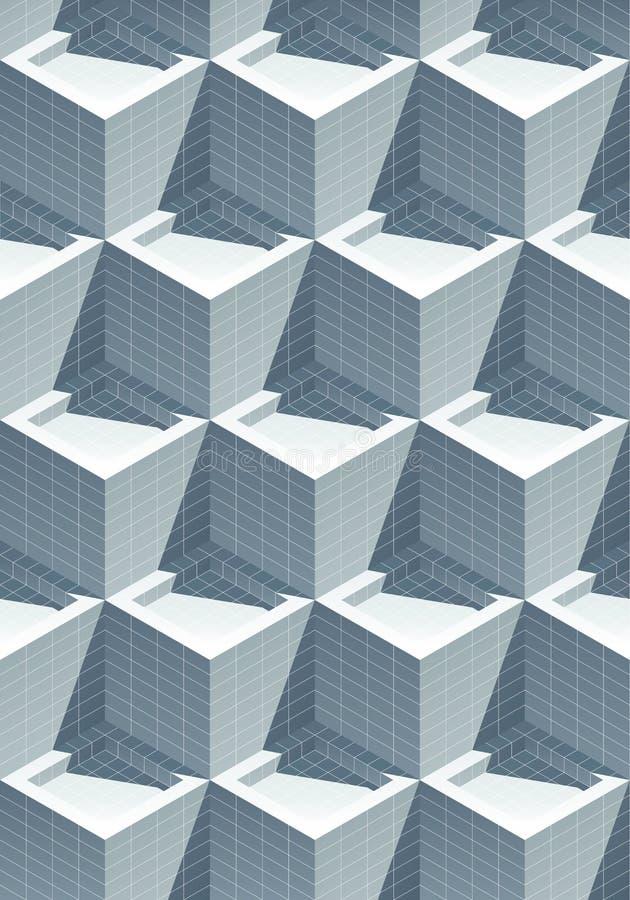 3D与阴影的作用现实铺磁砖的立方体 向量例证