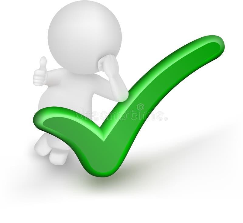 3d与绿色校验标志和赞许的人传染媒介。 库存例证