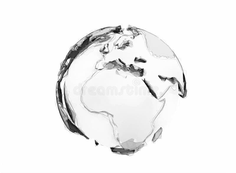 3d世界地球数字式铅笔剪影 皇族释放例证
