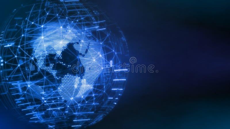 3D世界技术概念翻译  从小点和线创造的地球全球网络连接的,公司业务 免版税图库摄影