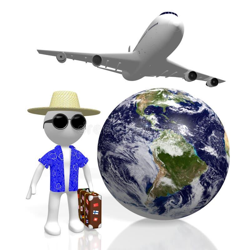 3D世界旅行概念 库存例证
