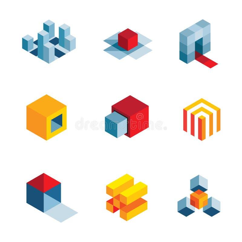 3D世界起始的想法创造性的真正公司元素商标象 皇族释放例证