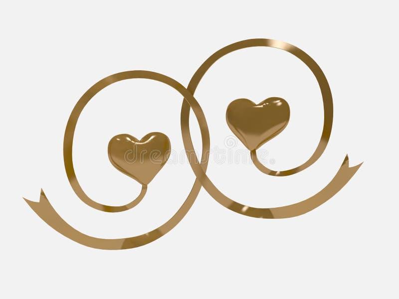 3d两心脏金子 向量例证