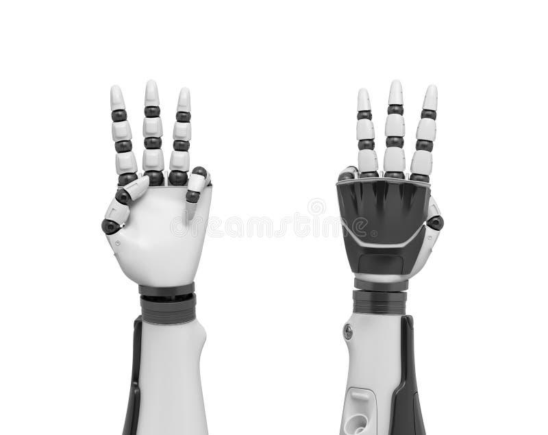 3d两条机器人胳膊翻译有非常突出所有的手指的除去拇指和带淡红色的手指 库存例证