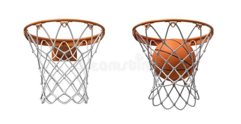 3d两篮球网翻译与橙色箍的,一个空和一个与落的球里面 免版税图库摄影
