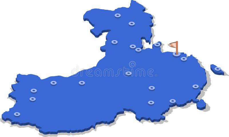 3d中国的等轴测图地图有蓝色表面和城市的 向量例证