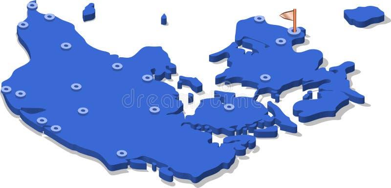 3d丹麦的等轴测图地图有蓝色表面和城市的 库存照片