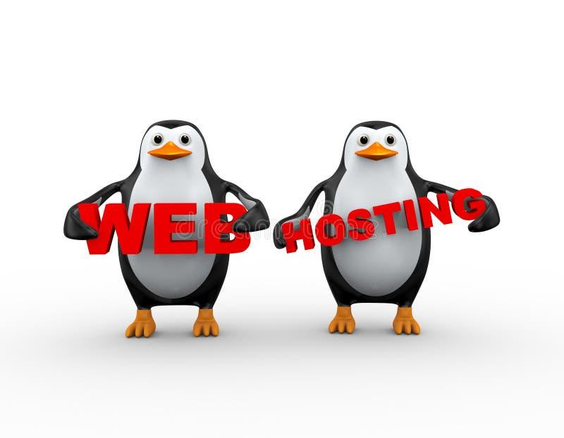 3d举行网络主持的企鹅 皇族释放例证