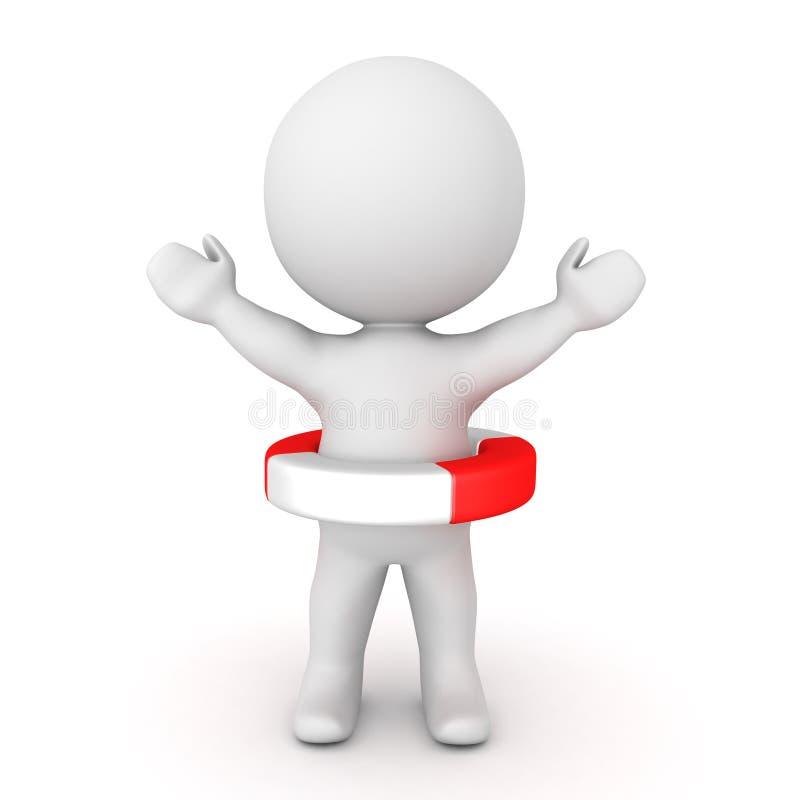 3D举他的手和佩带救生的字符bouy 库存例证