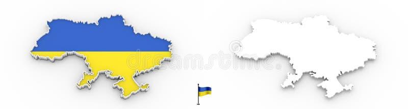 3D乌克兰白色剪影和旗子地图  库存例证