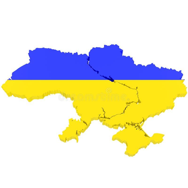 3D乌克兰的地图有旗子颜色的 3d例证,隔绝在白色 向量例证