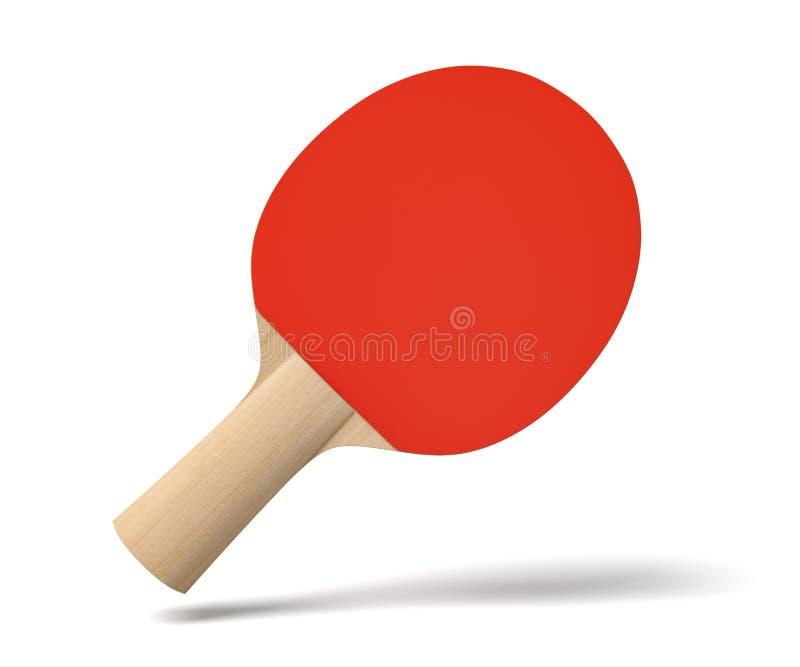 3d乒乓球球拍特写镜头翻译有木把柄和红色橡胶的在白色背景的空气 向量例证