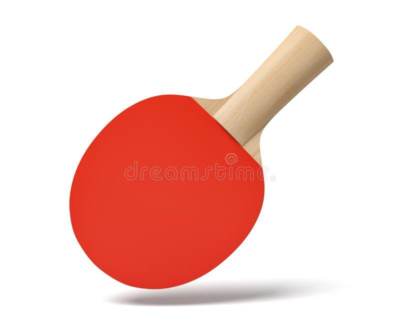 3d乒乓球球拍特写镜头翻译有木把柄和红色橡胶的在白色背景的空气 皇族释放例证