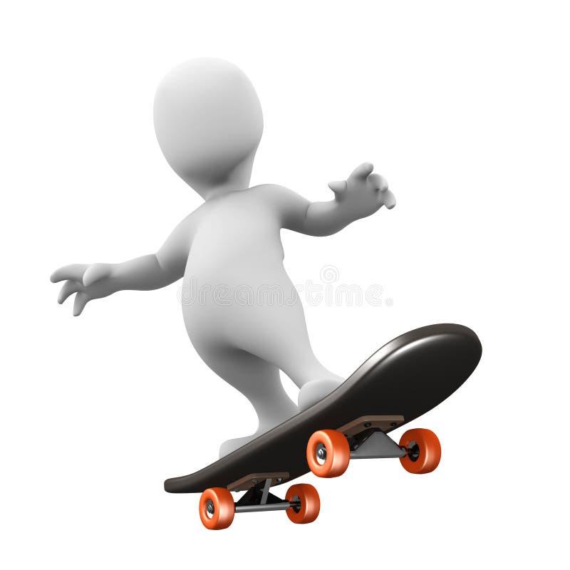 3d乘坐滑板的小人 皇族释放例证